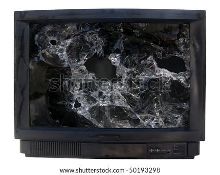 Glass  broken  TV - stock photo