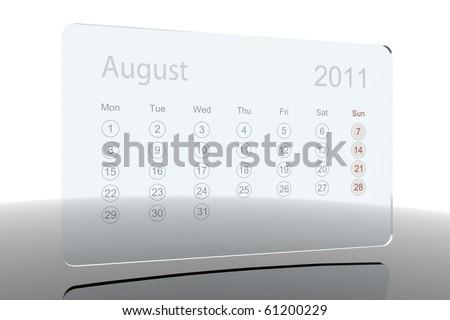 Glass calendar - August 2011