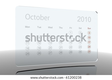 Glass calendar - October 2010