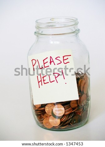 "Glass canning jar full of pennies, labeled with a sticky note reading ""PLEASE HELP!"""