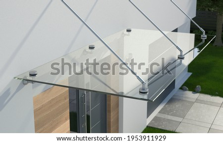 Glass canopy over the front door, 3d illustration 商業照片 ©