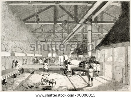 Glass casting in Saint-Gobain factory, France. Created by Godefroy-Durand, published on L'Illustration, Journal Universel, Paris, 1858