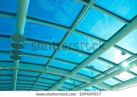 Glass ceiling of the airport Santos Dumont in Rio de Janeiro