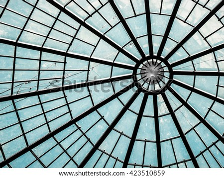 Glass Ceiling with Ray Pattern #423510859
