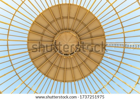 Glass Ceiling with Ray Pattern. Futuristic architecture dome made out of glass.