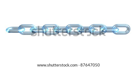 Glass chain, link, connection on black background