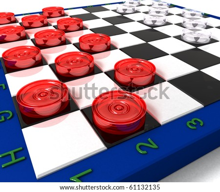 Glass checkers on volume board