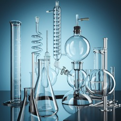 Glass chemistry lab equipment. Chemistry Lab concept. 3d rendering