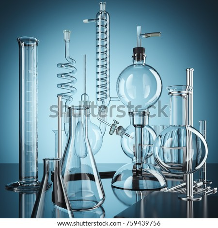 Glass chemistry lab equipment. Chemistry Lab concept. 3d rendering #759439756