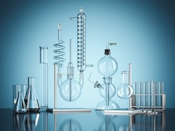 Glass chemistry lab equipment on blue background. Chemistry Lab concept. 3d rendering