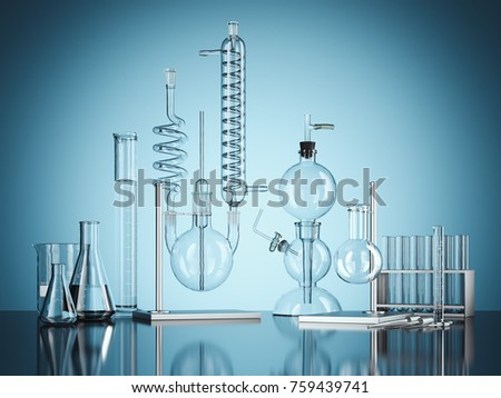 Glass chemistry lab equipment on blue background. Chemistry Lab concept. 3d rendering #759439741