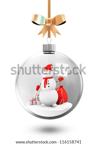 Glass Christmas Ball with Snowman and Different Christmas Accessories isolated on white background