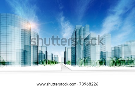 Glass city. Abstract 3d render original design