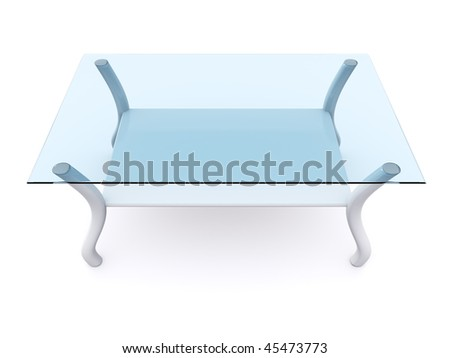 glass coffee table. 3d