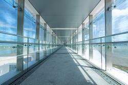 glass corridor in office centre