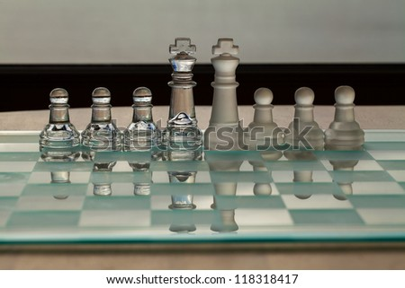 Glass / Crystal Chess Pieces - with reflection.