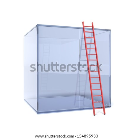 glass cube with red ladder