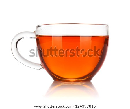 Glass cup of black tea. Isolated on white background #124397815