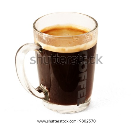 Glass cup of coffee (with clipping path for easy background removing if needed)