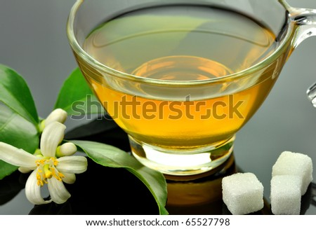glass cup of green tea on a black background - stock photo