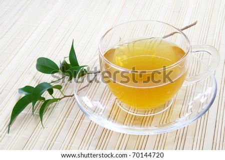 Glass Cup of Green Tea on Bamboo Napkin