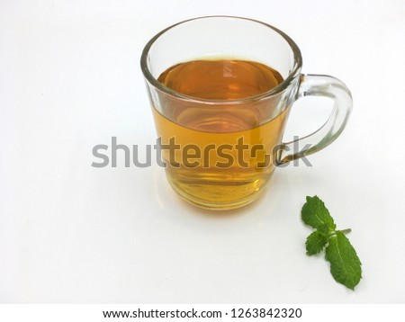 Glass cup of tea isolated on white background. Copy Space. #1263842320