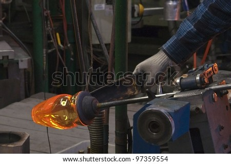 glass cup production factory - stock photo
