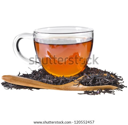 Glass Cup Tea , Isolated on White Background.
