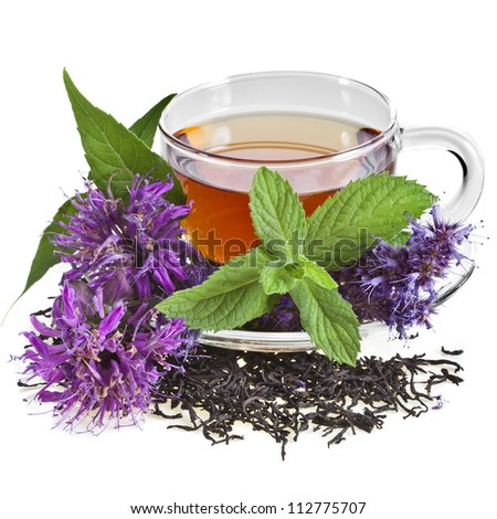 Glass Cup Tea with Mint Leaf and aromatic herb flower, Isolated on White Background.