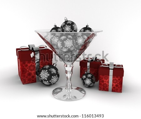 Glass cup with New Year decorative balls with red presents isolated on white background