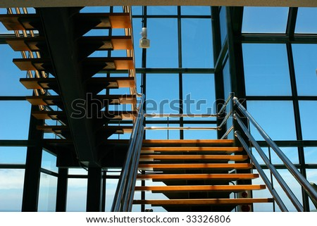 glass curtain wall and stair