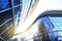 Glass curtain wall of modern office building