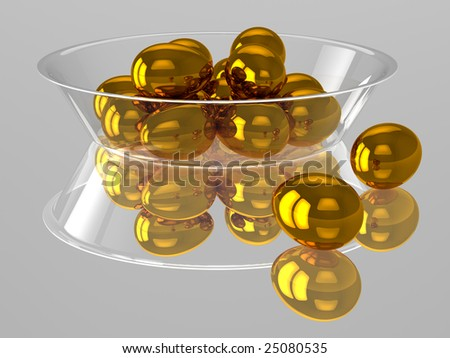 Glass dish with golden eggs
