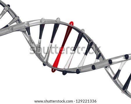 Glass DNA strand on white background