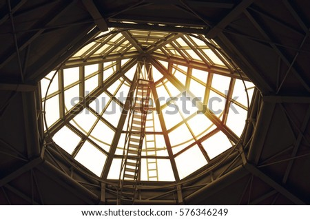 glass dome on roof of shopping centre #576346249