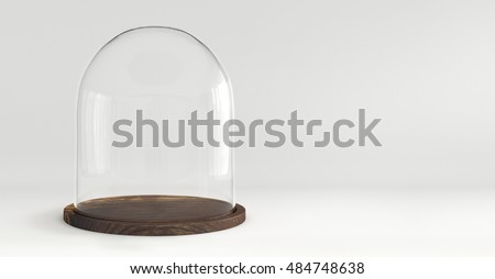 Glass dome with wooden tray on white background