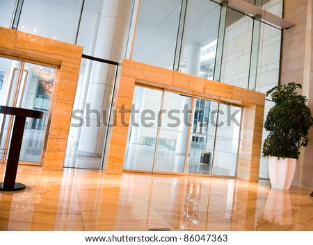 glass door entrance to business conference center .