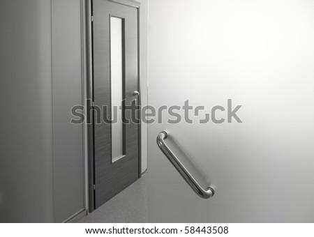 Glass door in office