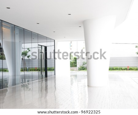 glass door of the office building.