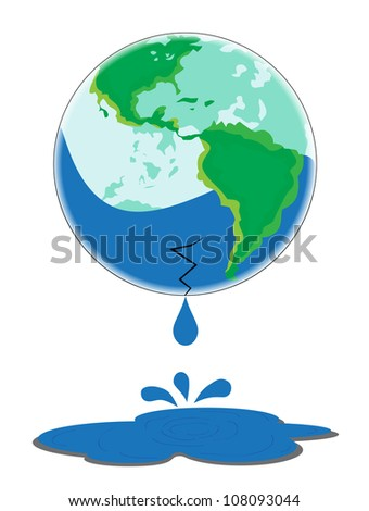 Glass Earth with a broken bottom leaking water.
