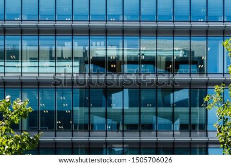 Glass facade of an office building