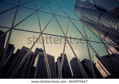 Glass facade of modern architecture
