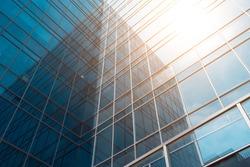 Glass facade of modern urban buildings
