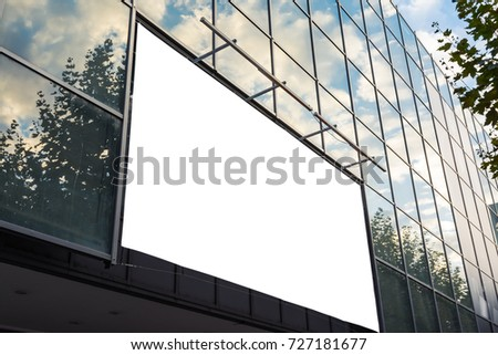 Glass Facade Shopping Center Billboard Ad Space Sky Reflection Outdoors Large Format Blank White Isolated #727181677