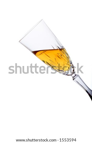 Glass filled with white wine against white background (clipping path included)
