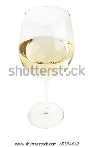 Glass filled with white wine, topshot isolated on white