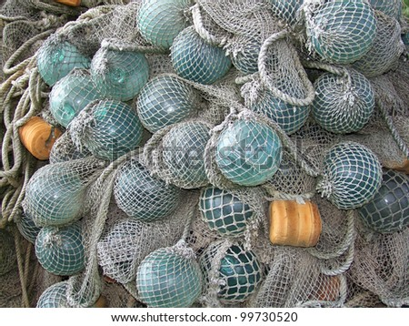 glass float, old fishing nets