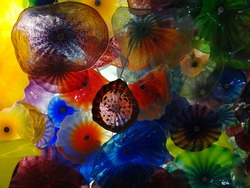 Glass flowers on ceiling in Vegas