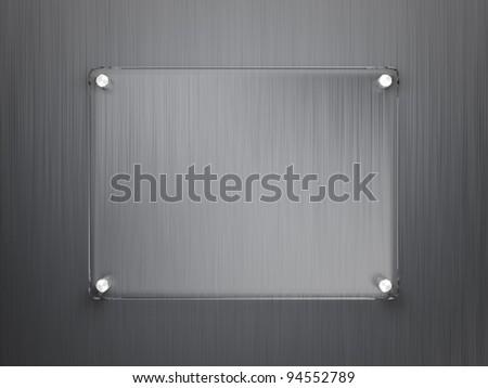 Glass frame on metallic surface