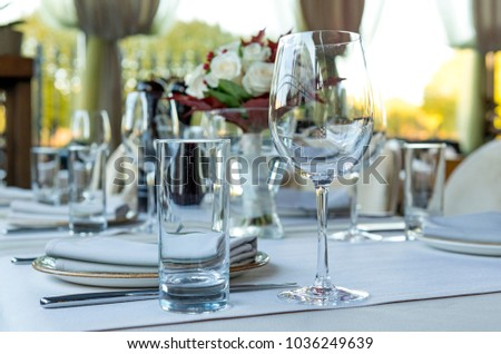 Glass Glasses On The Table Festive Table Setting Tableware - Wine glass table setting
